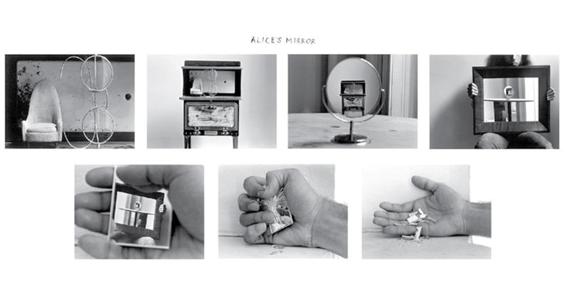 دوئین مایکلز- آینه ی آلیس – 1974. توالی ای از 7 عکس چاپ شده روی کاغذ ژلاتینی که بر روی یک صفحه چیده شده اند.