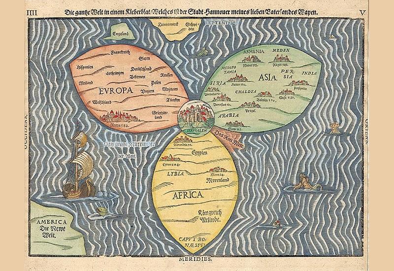 نقشه جهان با اورشلیم در مرکز GIS